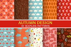 10 autumn-style seamless vector background illustration
