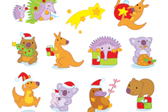 Link to10 christmas animals cartoon vector