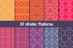 Link to10 color patterns arab background vector