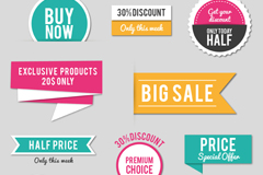 Link to10 color promotional labels and stickers vector