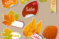 Link to10 colored autumn leaves discount tag vector