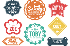 10 colour dog tag vector