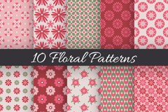 Link to10 fresh floral seamless background vector