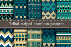 Link to10 green tribal style background vector