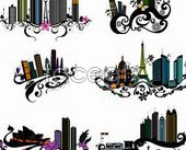 Link toarchitecture urban and flowers vector trend 10