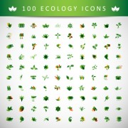 Link to100 kind ecology icons design vector free