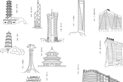 Link to11 cities famous new building vector