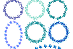 Link to11 leaves and twigs wreath vector