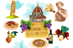 Link to11 watercolor italy travel element vector