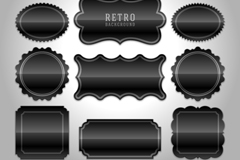 Link to12 black blank tags design vector