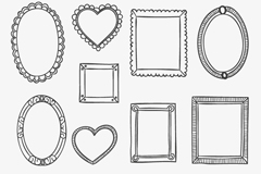 Link to12 black-painted picture frame design vector