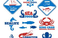 12 blue sea product label vector