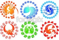 Link to12 chinese zodiac chinese traditional paper-cutting vector