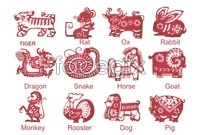 Link to12 chinese zodiac paper cuts vector graphics