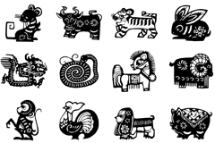 Link to12 chinese zodiac sign black paper-cut vector