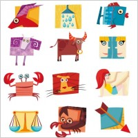 Link to12 constellations cute icon vector