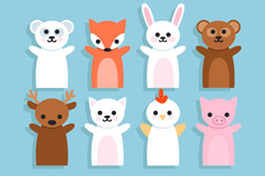 Link to12 cute animal hand puppet vector