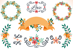 Link to12 flower garlands and vector