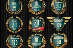 Link to12 glass texture anniversary badge vector
