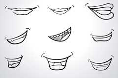 Link to12 hand-painted mouth design vector