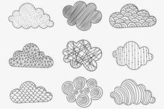 Link to12 hand-painted pattern clouds vector