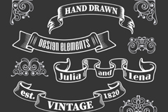 Link to12 hand-painted pattern with ribbon vector diagrams