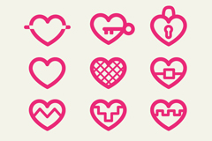 12 pink red heart icon vector