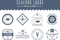 12 sea food seafood labels vector