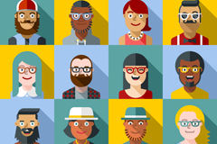 Link to12 stylish flat characters head vector