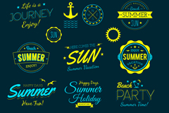 Link to12 summer beach tag vector diagrams