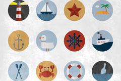 Link to12 vintage marine element tag vector