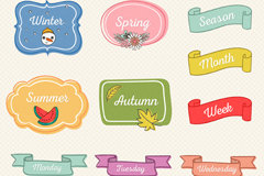 Link to13 color seasons and date labels vector