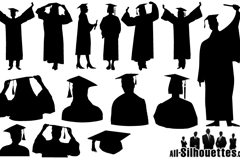 Link to13 graduates silhouette vector