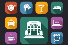 13 hotel element icon vector