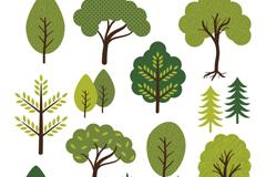 Link to14 cartoon trees design vector
