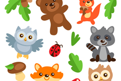 Link to14 cute cartoon animals vector