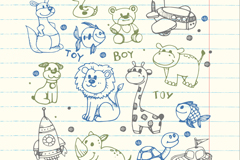 Link to14 painted boys toy animals vector