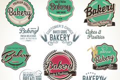 Link to14 retro bakery label vector