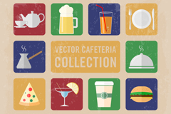 14 retro restaurant icon vector