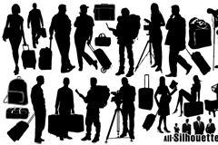 14 travel people silhouette vector
