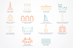 Link to14 world famous architectural icon vector