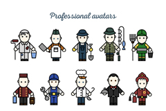 Link to15 cartoon occupational character vector