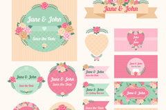 Link to15 flower wedding labels vector diagrams