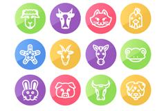 15 round animal avatar icon vector