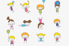 Link to16 cartoon children playing vector graphics