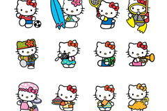 Link to16 cartoon kitty cat vector