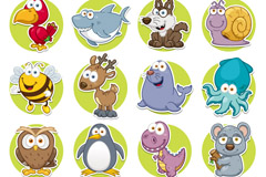 Link to16 cartoon round animals icon vector