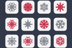 Link to16 colour square snowflake icon vector