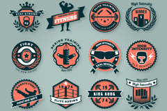 Link to16 creative fitness club tag vector