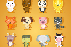Link to16 cute cartoon animals vector
